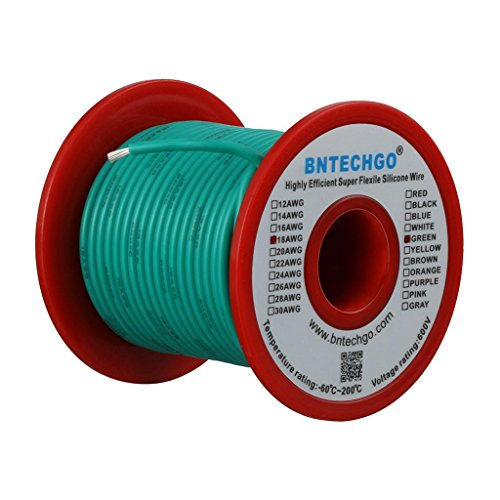 BNTECHGO 18 Gauge Silicone Wire Spool Green 50 feet Ultra Flexible High Temp 200 deg C 600V 18AWG Silicone Rubber Wire 150 Strands of Tinned Copper Wire Stranded Wire for Model Battery Low Impedance