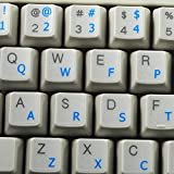 COLEMAK KEYBOARD STICKERS WITH BLUE LETTERING ON TRANSPARENT BACKGROUND