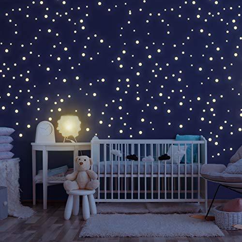 Homery Sternenhimmel 400 Leuchtsterne selbstklebend mit starker Leuchtkraft, fluoreszierende Leuchtsterne Wandtattoo & Wanddeko Aufkleber für Baby, Kinder oder Schlafzimmer (Leuchtpunkte)