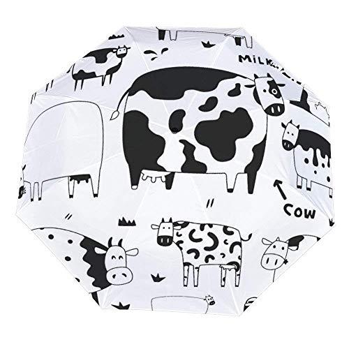 Opvouwbare paraplu grappige koeien paraplu open dicht winddichte paraplu lichtgewicht compacte outdoor paraplu's zon & regen