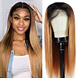 Arenshxc Closure Wig 4x4 Ombre Echthaar Perückes For Women #1b/27 Straight Brasilianer Virgin Hair Wig Pre Plucked With Natural Hairline Swiss Lace Ombre Wig 20 inch