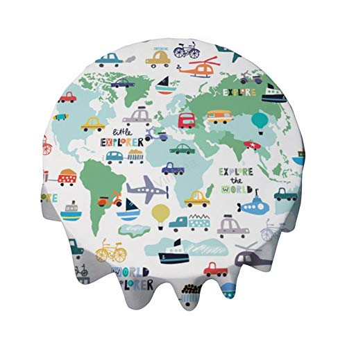Mantel redondo de 91,4 cm para mesa de viaje, trenes, aviones, coches, camiones, decoración para mesa de buffet, fiestas, cenas de vacaciones, bodas y más