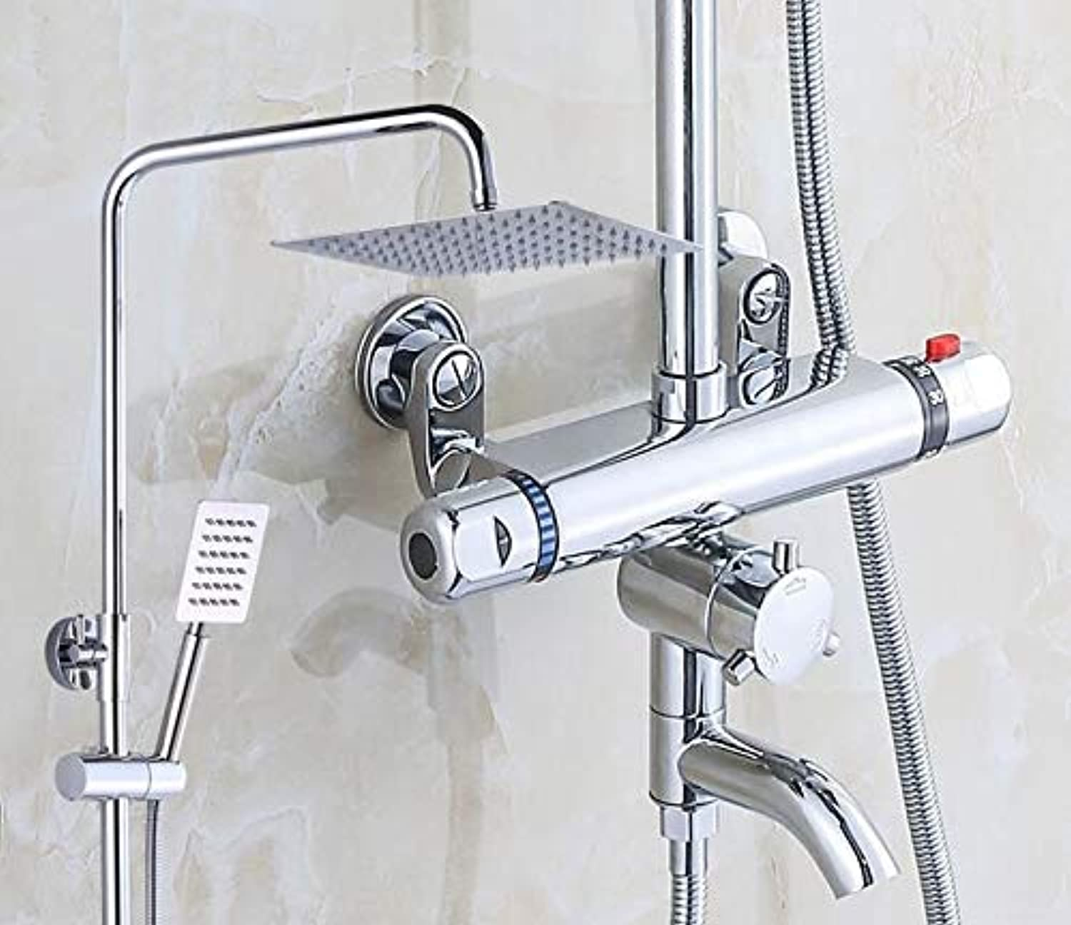 Bathroom Thermostatic Shower Faucet Shower Head Set,Wall Mount Shower Faucet Mixer,Brass Shower Faucet Thermostatic Mixing Valve