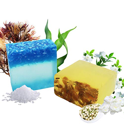 Jasmin & Meersalz Sea Salt Naturseife - Bio Feste Seife Vegan Handgemachtes Seife, Reinige Gesicht und Körper für Damen Herren alle Hauttypen, Für Akne, Ekzem, Gesichtsreinigung Körperreiniger