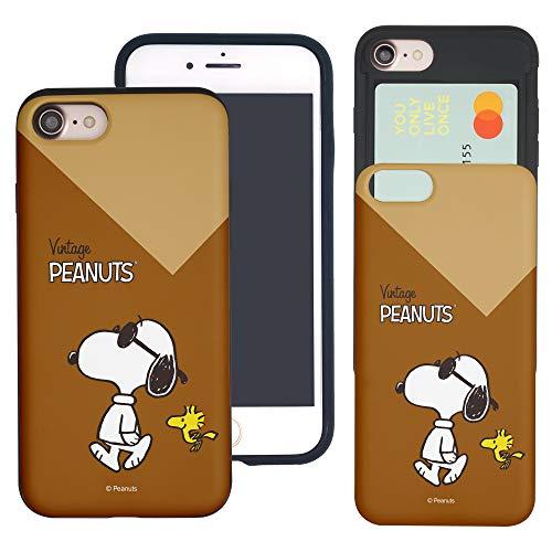 """iPhone SE 2020 ケース/iPhone 8 ケース/iPhone 7 ケース (4.7"""") と互換性があります Peanuts Snoopy ピーナッツ スヌーピー カード スロット ダブル バンパー スマホ ケース 【 アイフォン8"""