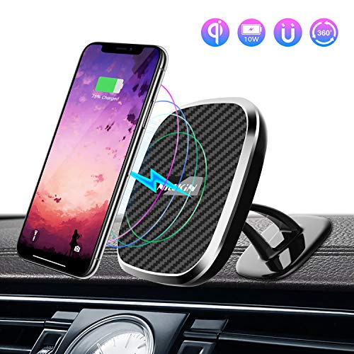 Nillkin Wireless Car Charger Mount,2 in 1 Rotatable Magnetic Car Phone Holder 5W/ 7.5W/10W Qi Fast Wireless Charger with LED Indicator for iPhone 11 pro/11/XS/X/8,Galaxy Note 20 Ultra/S20 +/S10/S10/S9