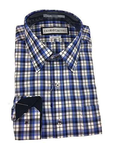 HENRY GRETHEL Classic Fit Long Sleeves Sport Shirt (X-Large, Blue White Gray Plaid)