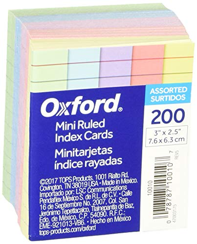 "Oxford Mini Ruled Index Cards, Ruled, 3"". x 2.5"" , Assorted Colors, 200 ea"