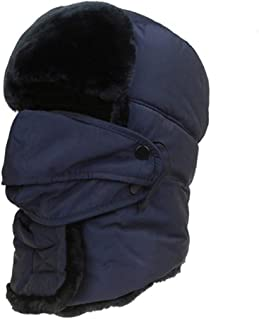 Hat Fashion Ear Protector Winter Female Mask Riding Hat Ski Thick Warm Lei Feng Hat Fashion Accessories (Color : Blue)