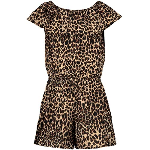 NAME IT Mädchen NKFVINAYA SS FF NOOS Playsuit, Detail:Leopard Print Black, 128