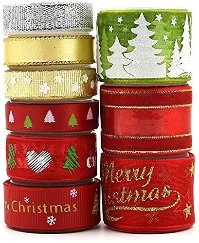 9 Rollos Cintas de Navidad Tela Decoración Manualidades Cintas Lazos Embalaje Regalo Cajas Flores Arbol Navidad Fiestas Casa Roja Dorada Verde Blanco navideña Ribbon Strap Trim Hair Band Costura