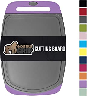 GORILLA GRIP Original Reversible Cutting Board, Large Size, 16 Inch x 11.2 Inch, BPA Free, Juice Grooves, Thick Board, Easy Grip Handle, Dishwasher Safe, Non Porous, Kitchen, Professional, Purple Gray
