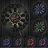 yrfchgj Juego de Dardos Tablero de Dardos Reloj de Pared Mancave Sala de Juegos Bar Pub Decoración de Pared Flecha Objetivo Juego Bullseyes Reloj de Pared con Registro de Vinilo Lighted