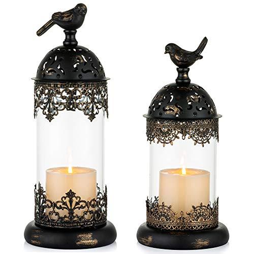 NUPTIO - Portavelas estilo vintage de hierro forjado marroquí para decoración de manto, candelabros para mesa, salón, balcón,...