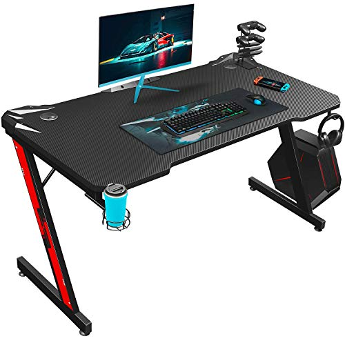Homall Gaming Tisch 110 cm Schreibtisch Computertisch PC mit Getränkehalter und Kopfhörerhalter Z-förmig, Schwarz