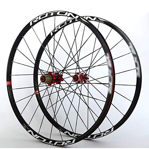TYXTYX Juego de Ruedas de Bicicleta MTB, Freno de Disco de Borde de Doble Pared, 7 8 9 10 11 velocidades, F2 R5, rodamientos Palin, buje de Carbono, 24 H, liberación rápida, 1763g
