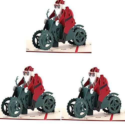Weihnachtskarten 3D Pop Up, Weihnachtsmann auf Motorrad 3D Karten Weihnachten Set Santa Claus Christmas Card Weihnachtskarte Pop Up X-Mas Karte Geschenk Weihanchtsdeko mit Umschlag (3er Set, 16*16cm)