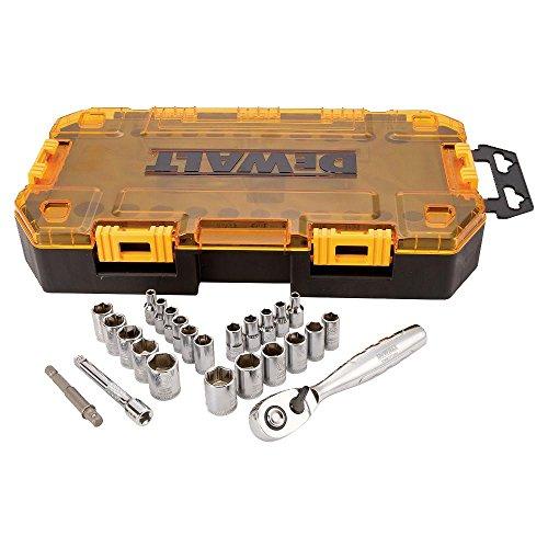 DEWALT Drive Socket Set, SAE/Metric, 1/4-Inch...
