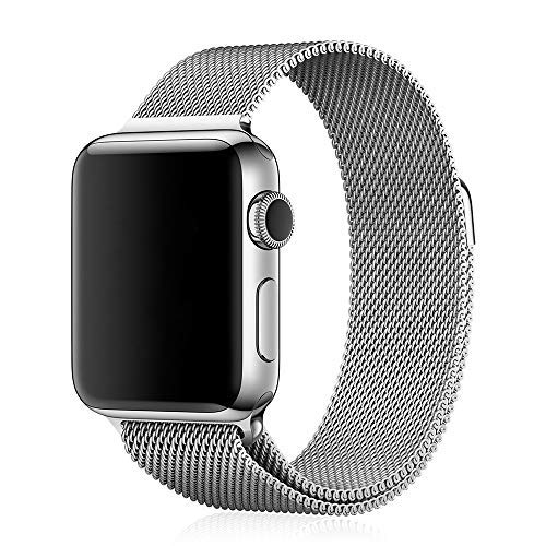 OCTOWAY - Correa compatible para Apple Watch, 42 mm, 44 mm, malla Milanesa, correa de acero inoxidable de metal para iWatch Serie 6/5/4/3/2/1/SE 42/44 mm, color plateado plateado