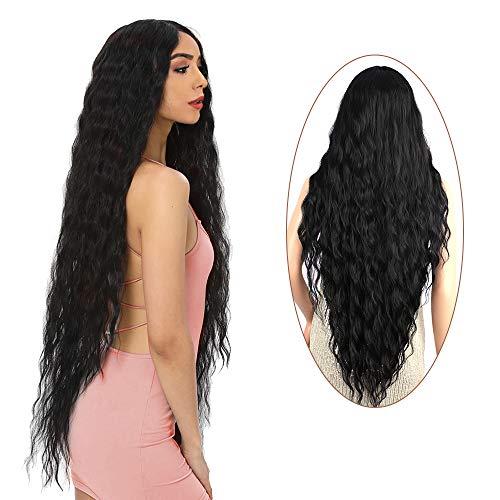 """FORCUTEU 38"""" Long Black Wig for Women Long Curly Wig Black Long Curly Wig Super Long Black Water Wavy Wig Soft Wavy Fluffy Curly Wig (Black)"""