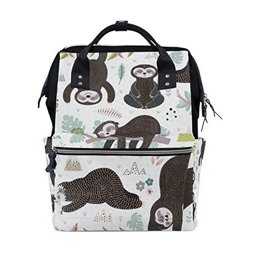 Cute Sleeping Sloths Bag Backpack Large Capacity Muti-Function Travel Bag for Mummy Women