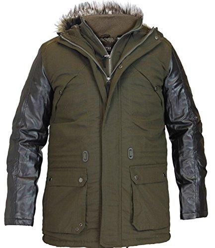 Soul Star New Mens Parka Jacket Padded Fish Tail Lined PU Sleeves Hooded Coat_Large_Khaki