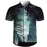 Ocuhiger Camisa Hawaiana para Hombre Vista Trasera De Personaje Camisas De Cuello Redondo Verano Estampado De Luna En 3D Camisetas De Manga Corta Blusa De Playa Informal Negro