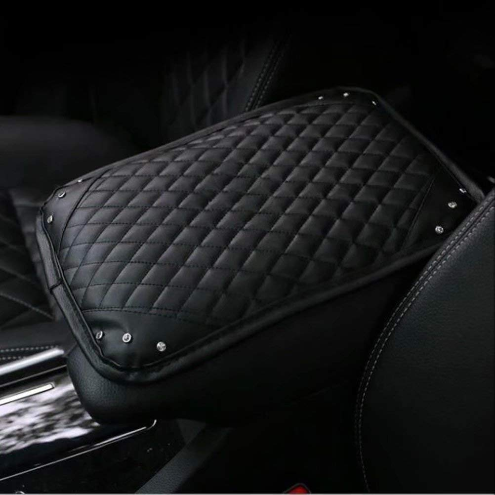 ALVAZA Crystal Rhinestone Car Armrest Cover Bling Bling Diamond Auto Center Console Cover,Black PU Leather Car Decor Accessories for Women Girls