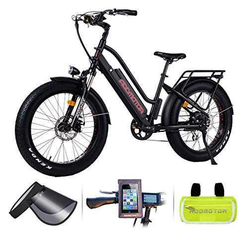 Addmotor Motan Step-Thru Electric Bike, 750W 48V 16Ah Battery 24' Fat Tire Electric City Bicycle for Adults, Aluminum Sport Cruiser Commuter Snow M-430 Ebike, 7 Speed Gear (Black)