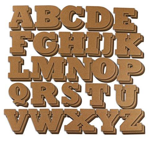 Juvale letters - 104-delige letters van het alfabet alfabet decoratieve plank voor kinderen, handwerk, 4 van elke brieven, bruin, 4,5 x 3 inch