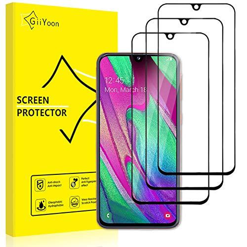 GiiYoon 3 Pezzi Pellicola Protettiva, Protezione Schermo in Vetro Temperato per Samsung Galaxy A40, Screen Protector[Copertura Completa][Anti graffio][Senza Bolle][Alta Definizione][Facile da Pulire]