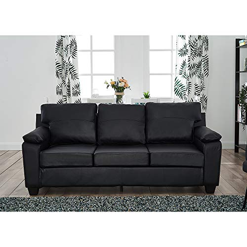 Panana Modern 2 Seater Or 3 Seater Faux Leather Brown Sofa Armchair Couch Settee Living Room Furniture (Black, 3 Seater)
