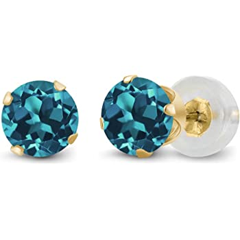 Gem Stone King Round 4mm Blue Zirconia 14K Yellow Gold Stud Earrings