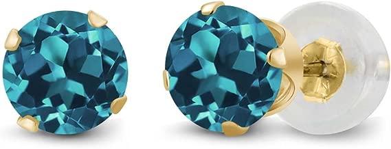 Gem Stone King 14K Yellow Gold London Blue Topaz Gemstone Birthstone 4-prong Stud Earrings (1.10 cttw, 5MM Round)