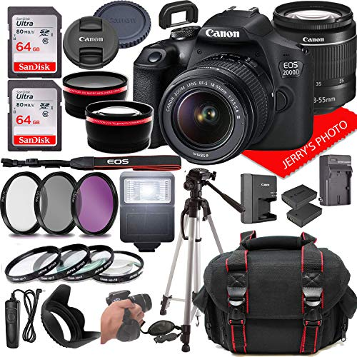 Canon EOS 2000D (Rebel T7) DSLR Camera w/Canon EF-S 18-55mm F/3.5-5.6 Zoom Lens + Case + 128GB Memory (28pc Bundle)