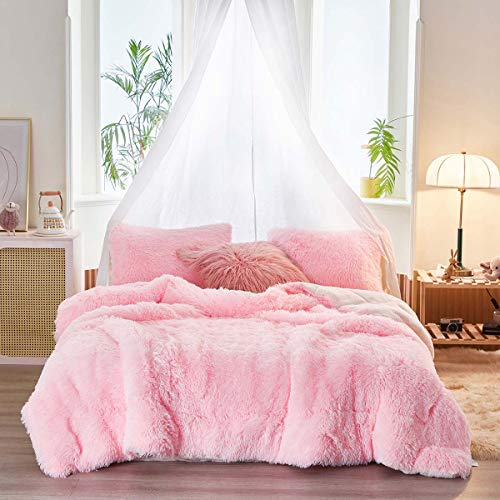 Uozzi Bedding Faux Fur Comforter Set King 3 Pieces - 1 Comforter Set and 2 Pillowcases, Ultra Soft and Easy Care Luxury Plush Shaggy Duvet Set (Pink)
