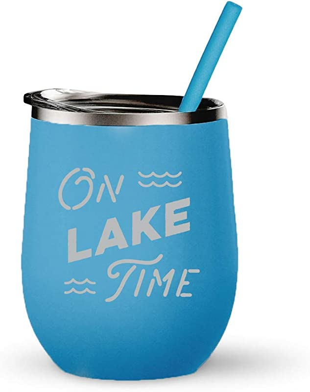 On Lake Time Tumbler 12 Ounces Engraved Stainless Steel Stemless Wine Glass With Lid And Straw Lake Cup Boat Tumbler