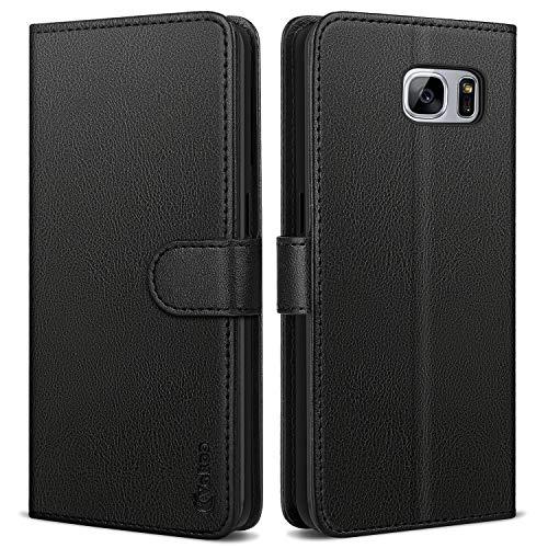 Vakoo Handyhülle für Samsung Galaxy S7 Hülle, Premium Leder Flip Hülle Schutzhülle für Samsung S7, Schwarz