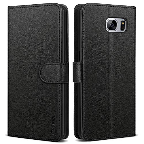 Vakoo Wallet Serie Handyhülle für Samsung Galaxy S7 Hülle, Schwarz