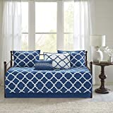 Madison Park Essentials Merritt Reversible Daybed Cover-Fretwork Print, Diamond Quilting All Season Cozy Bedding with Bedskirt, Matching Shams, Decorative Pillow, 75'x39', Navy 6 Piece