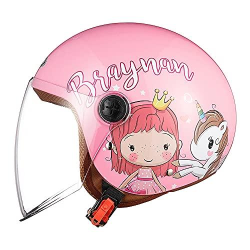 FREEUP Casco Moto para niños, Casco Jet con Visera, Casco de Moto para niñas, Casco de ciclomotor para niños, Bolsillo de liberación rápida, 48-55cm, para niños de 5 a 12 años,Rosa