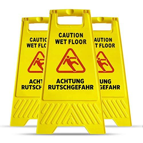 Warnschild Vorsicht Rutschgefahr, Mysbiker Achtung Rutschgefahr Aufsteller, klappbar, Warnschild vor Glätte, beidseitig beschriftet, Hinweisschild, gelb