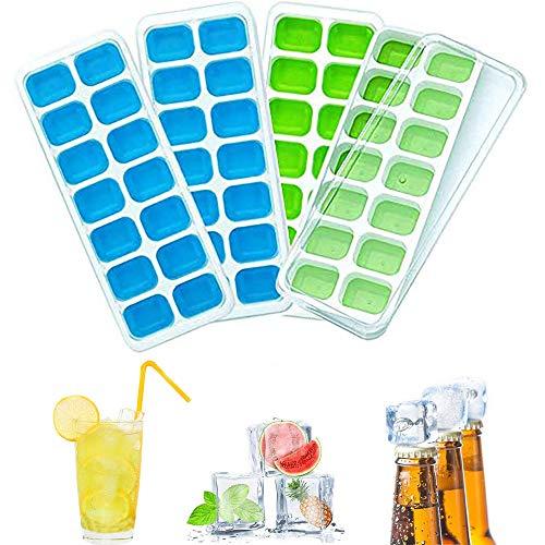 Newdora Eiswürfelform, 4er Pack Silikon Eiswürfelbehälter mit Deckel, BPA-Frei Eiswürfel Form Quadratische Eiswürfelschalen, Ice Cube Tray für Whisky,Cocktail,Saft,Babynahrung