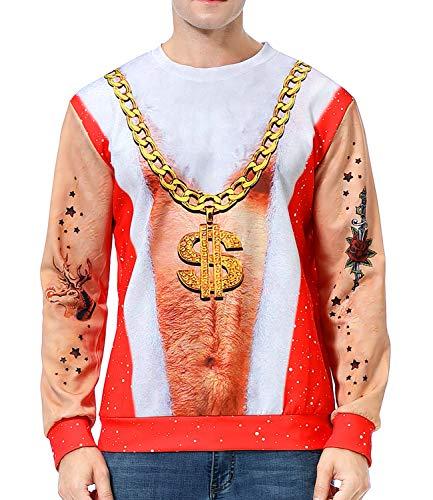 Couples Unisex Ugly Christmas Sweaters Pizza Cat Sweatshirt 3D Print Dollar Necklace Pullover Men Women Xmas Plus Size (B-Xmas Dollar Necklace, XX-Large)
