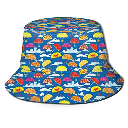 Unisex Summer Fisherman cap,Pattern with Colorful Florally Ornamented Umbrellas On Sky Background with Clouds,Travel Beach Outdoor Sun Hat