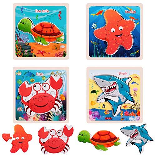 rolimate Houten puzzel voor peuters van 3 4 5 jaar, 3D plug-in puzzel houten Montessori speelgoed, voorschoolse puzzelset voor kinderen, leren speelgoed Beste verjaardagscadeau voor jongens en meisjes
