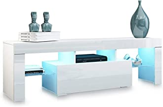 TV Stand Cabinet Entertainment Unit RGB LED Light High Gloss Wood 1 Drawer Storage Shelf White 130cm