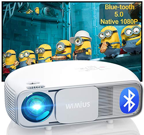 "Proiettore, Bluetooth 7200 Nativa 1920x1080P Full HD, WiMiUS S4 Home Cinema Videoproiettore LED, AC3 & 4K supportato, 300"" Schermo Gigante, per Fire TV Stick, PS4, PC, iPhone, tablet, DVD"