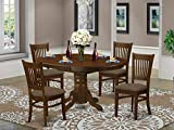 5 Pc set Kenley Kitchen Table with a Leaf and 4 Upholstered Seat Chairs