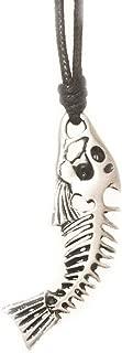 Vietsbay Fish Skeleton Bones Silver Pewter Charm Necklace Pendant Jewelry